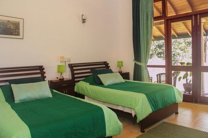 Jungle Tide Bed and Breakfast Barbet twin room with high ceiling and french doors to the veranda