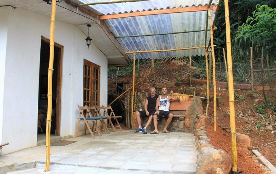 David and Peter Vacl built our new patio for the garden room Kingfisher camping barn at Jungle Tide Guest House