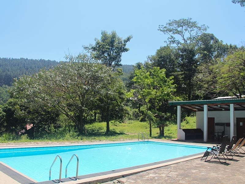 Swimming pool and pavilion at Jungle Tide accommodation above Kandy