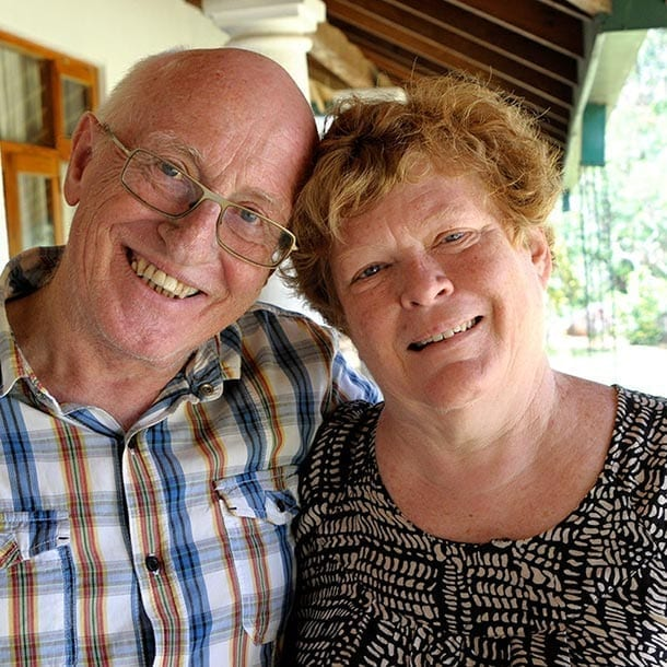 Sally and Jerry, owners of Jungle Tide tea estate bungalow guest house Kandy Sri Lanka