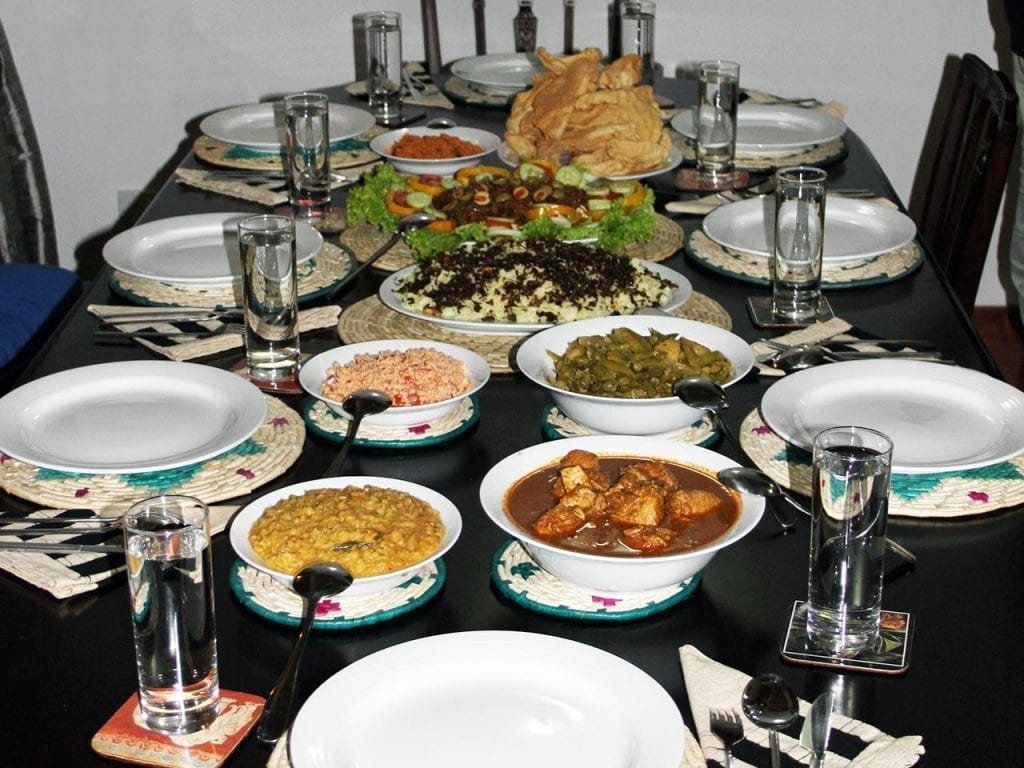 Dining table full of amazing home cooked Sri Lankan food at Jungle Tide Guest House accommodation