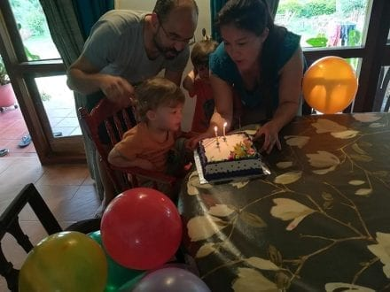 Celebrate your birthday or special occasion at Jungle Tide Guest House near Kandy - our gusts little boy blows out his birthday cake candles